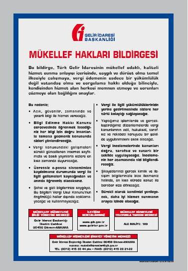 gib mükellef hakları bildirgesi afiş