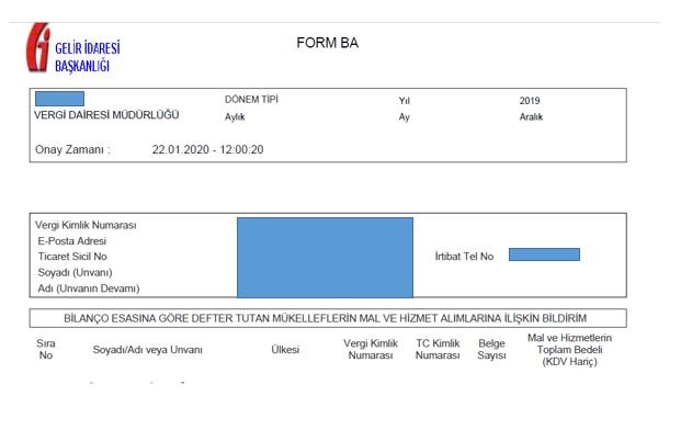 form BA örneği