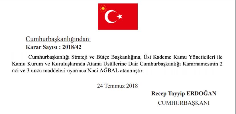 Naci AĞBAL Cumhurbaşkanlığı Strateji ve Bütçe Başkanı atama Cumhurbaşkanlığı kararnamesi.PNG
