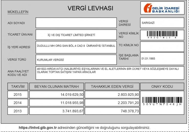 vergi levhası örneği