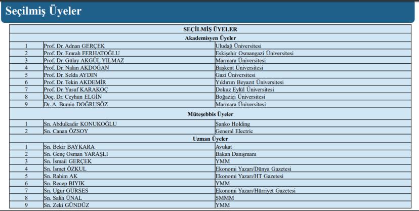 vergi konseyi seçilmiş üyeler listesi