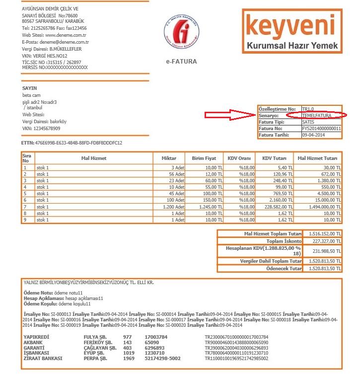 temel fatura senaryosu ile kesilmiş elektronik fatura e-fatura örneği.png
