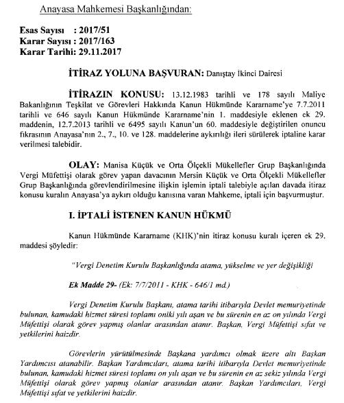 anayasa mahkemesi kararı vergi müfettişlerinin yer değiştirmesi hakkında Alıntısı.PNG