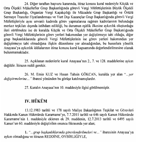 vergi müfettişlerinin yer değişitme ve gruplarda görevlendirmesi anayasa mahkemesi kararı sonuç kısmı
