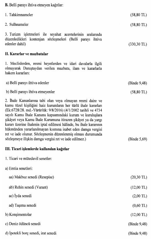 damga vergisi 2018 1 sayılı tablo 3