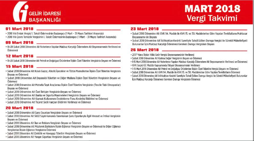 mart 2018 vergi takvimi bildirim beyanlar