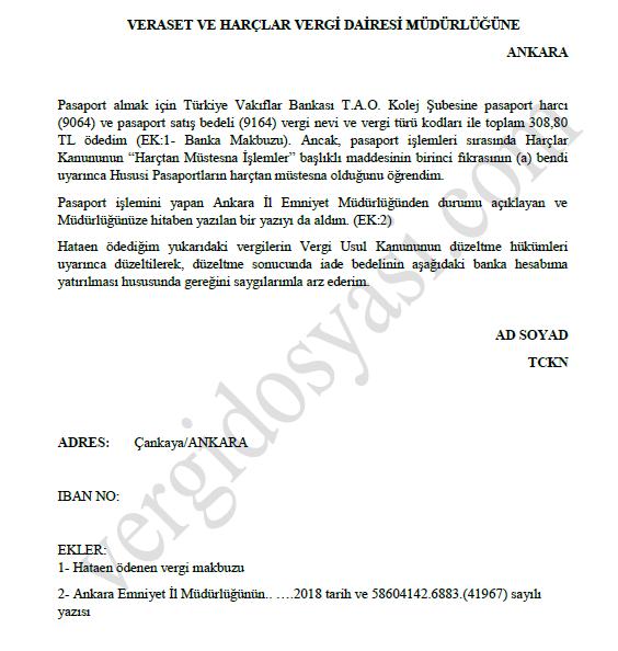 hataen yersiz yere ödenen pasaport harcının iadesine ilişkin yazı örneği.PNG
