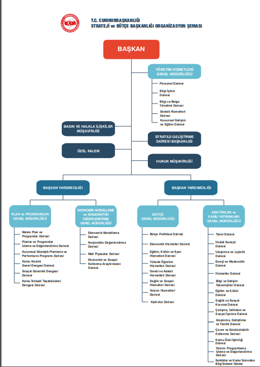 cumhurbaşkanlığı strateji ve bütçe başkanlığı organizasyon şeması
