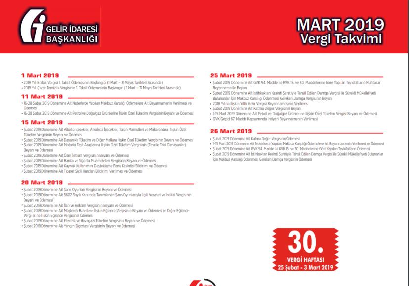 2019 yılı mart ayı vergi takvimi