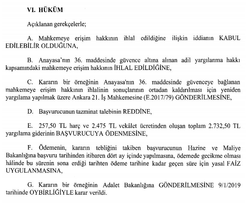 khk ile verilen yetki ile iş akdi feshedilen kişinin aym bireysel başvuru işe iade davası mahkemeye erişim hakkı hüküm kısmı.PNG