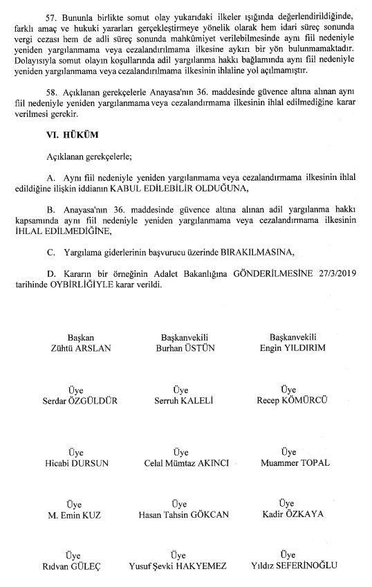Anayasa mahkemesi kararı vergi cezası yanında ek ceza verilmesi
