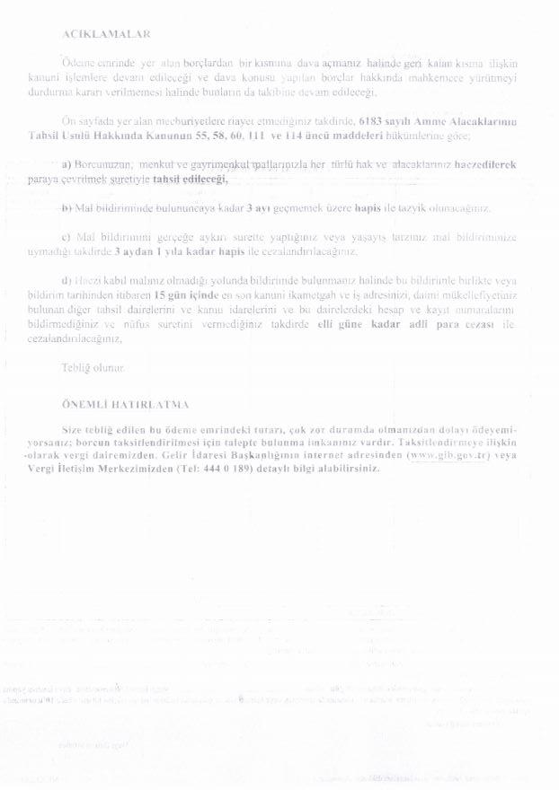 ödeme emri belgesi örneği ikinci sayfa