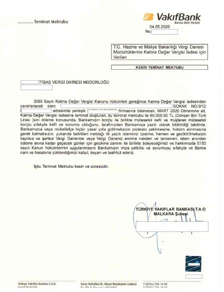 Kesin Teminat Mektubu örneği vergi iadesi için vergi dairesine verilmek üzere