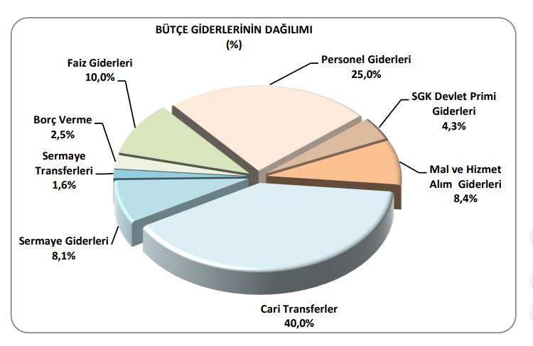 2019 merkezi yönetim bütçe giderlerinin dağılımı
