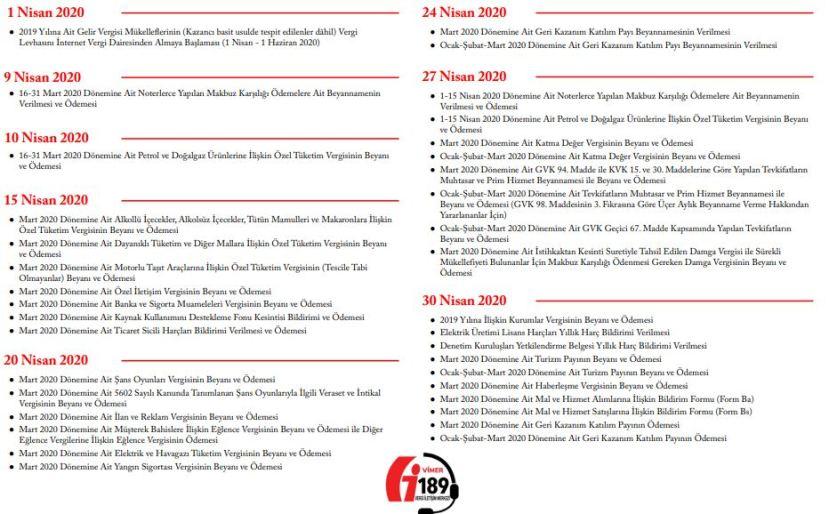 2020 yılı Nisan Ayı Vergi Takvimi Bildirim Beyan ve Ödeme Tarihleri