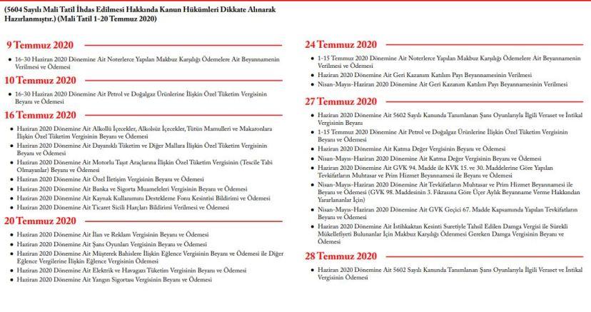 2020 yılı Temmuz Ayı Vergi Takvimi Bildirim Beyan ve Ödeme Tarihleri