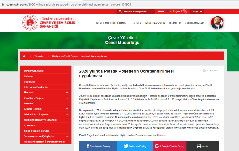 poşet 2020 yılında da 25 kuruş olarak uygulanmaya devam edecek bakanlık duyurusu