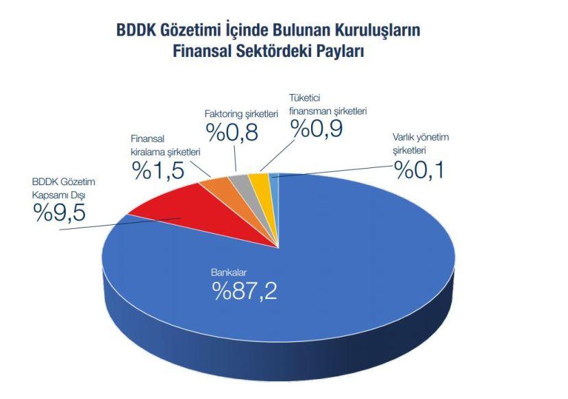 BDDK Gözetim ve denetimindeki kuruluşların finansal sektör içindeki dağılımı