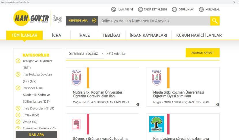 resmi ilan portalı ilan gov tr