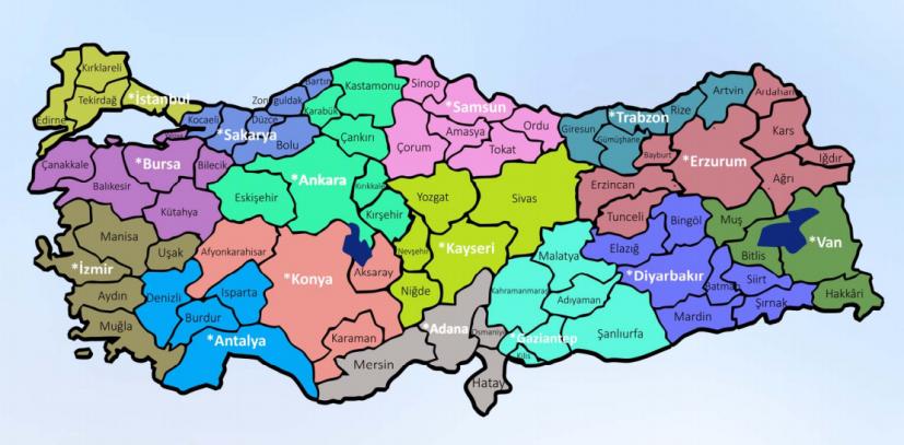 Bölge adliye mahkemelerinin yetkili olduğu iller haritası