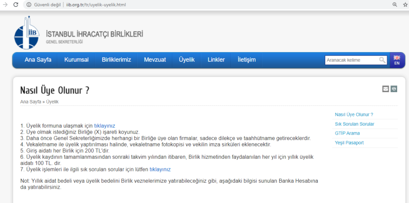 istanbul ihracaçı birliği üyelik bedeli 2020